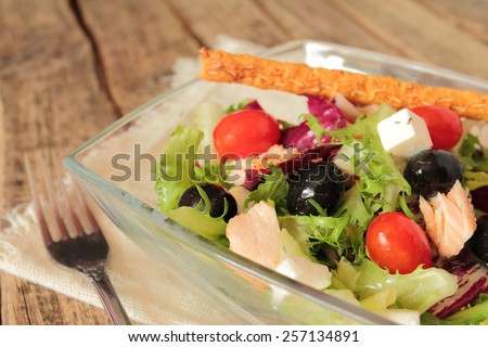 Healthy vegetable salad with fresh lettuce, olives and tomatoes - stock photo