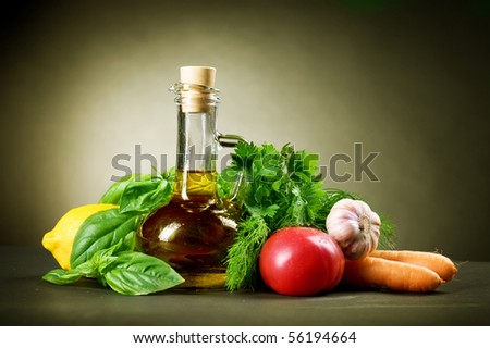 Healthy Vegetables and Olive Oil - stock photo