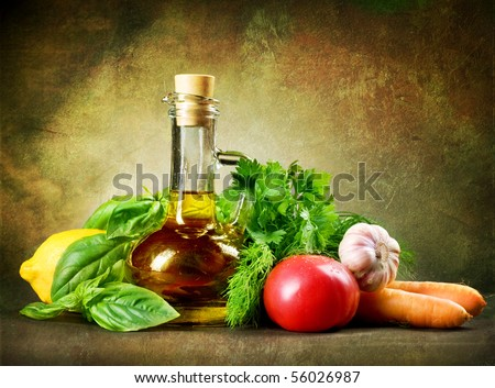 Healthy Vegetables and Olive Oil.Vintage Styled - stock photo