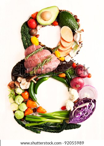 Healthy Vegetables, Meats, Fruit and Fish Shaped in Number Eight 8 - stock photo