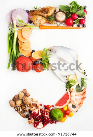 Healthy Vegetables, Meats, Fruit and Fish Shaped in Number Five 5. - stock photo