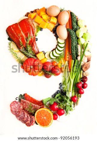 Healthy Vegetables, Meats, Fruit and Fish Shaped in Number Nine 9 - stock photo