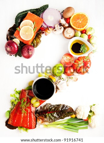 Healthy Vegetables, Meats, Fruit and Fish Shaped in Number Two 2 - stock photo