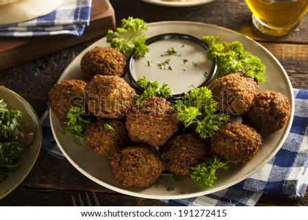 Healthy Vegetarian Falafel Balls with Rice and Salad - stock photo