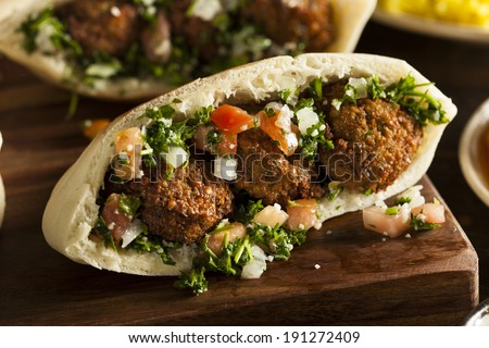 Healthy Vegetarian Falafel Pita with Rice and Salad - stock photo