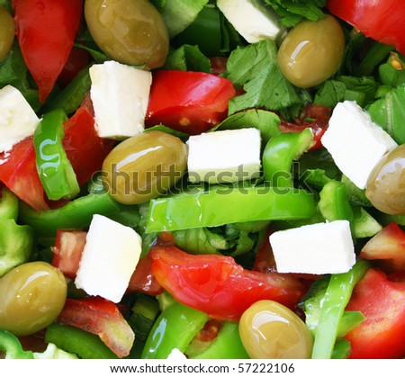 Healthy vegetarian greek salad background - stock photo
