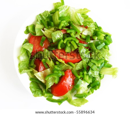 Healthy vegetarian Salad on the white plate over white - stock photo