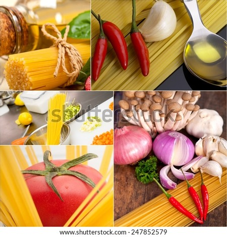healthy Vegetarian vegan food collage nested on white frame - stock photo