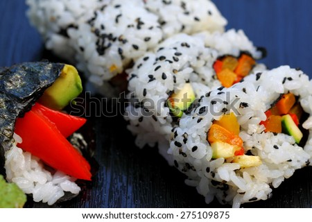 Healthy very popular Japanese food sushi california roll.