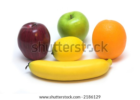 Healthy, vibrant,  looking fruits isolated over white