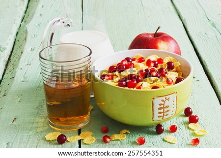 healthy vitamin breakfast of fruit, juice and milk for children.  children food concept - stock photo
