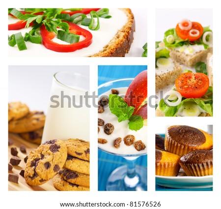 Healthy vs. unhealthy food collage - stock photo