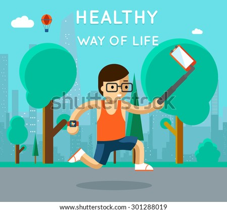 Healthy way of life. Sport monopod selfie in park. Exercise and run, active athlete - stock photo
