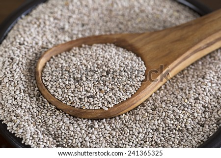 Healthy white chia seeds in bowl with wooden spoon. - stock photo