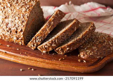healthy whole grain bread with carrot and seeds - stock photo