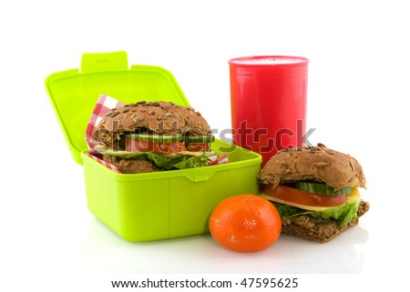Healthy whole meal cheese sandwich in lunch box - stock photo