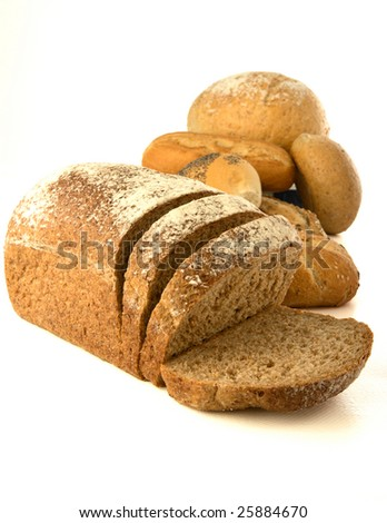 Healthy whole wheat bread and buns. Isolated on white background. Good for a healthy lifestyle! - stock photo