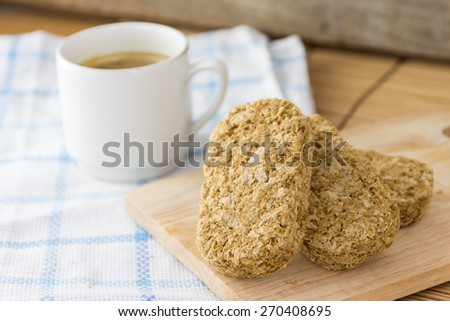 Healthy Whole Wheat Shredded Cereal for Breakfast,Selective Focus is Cereal - stock photo