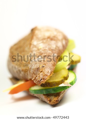 Healthy wholemeal sandwich on white background
