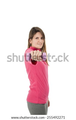 healthy woman doing exercises with dumbbells against a white background - stock photo