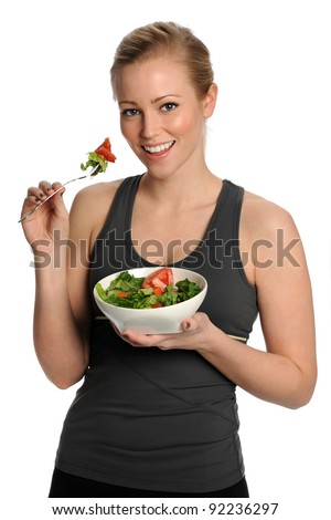 Healthy Woman Eating Salad. Healthy Lifestyle - stock photo