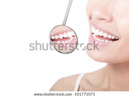 Healthy woman teeth and a dentist mouth mirror isolated on white background, model is a asian beauty - stock photo