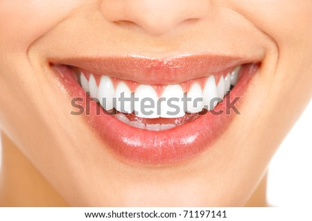 Healthy woman teeth and smile. Close up. - stock photo