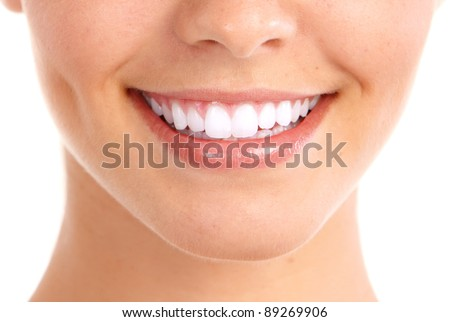 Healthy woman teeth and smile. Isolated over white background. - stock photo