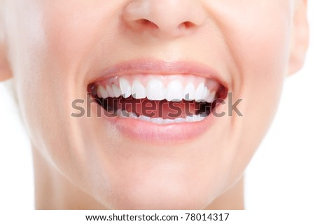 Healthy woman teeth. Isolated over white background - stock photo