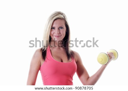 Healthy women exercises with weights - stock photo