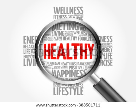 HEALTHY word cloud with magnifying glass, health concept