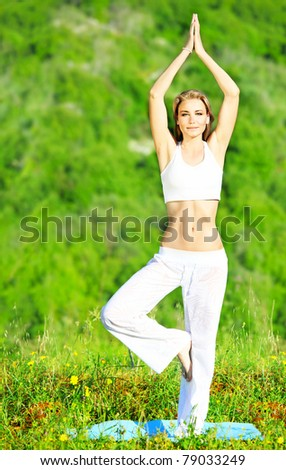 Healthy yoga woman exercising outdoor, fitness & sport lifestyle concept - stock photo