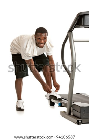 Healthy Young African American Get Ready by Treadmill Isolated on White Background - stock photo