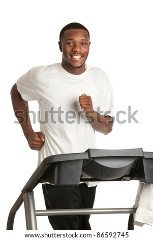 Healthy Young African American Running in Treadmill Isolated on White Background - stock photo
