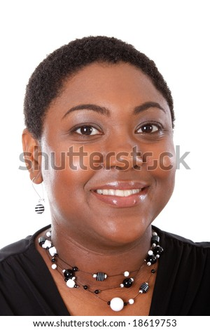 Healthy Young African American Woman Portrait on White Background