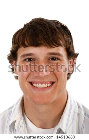 Healthy Young Male Model Smile with Confidence on Isolated Background - stock photo
