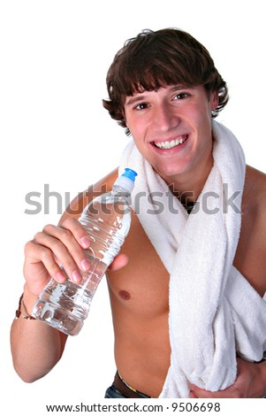 Healthy Young Man Holding Water Bottle on Isolated Background - stock photo