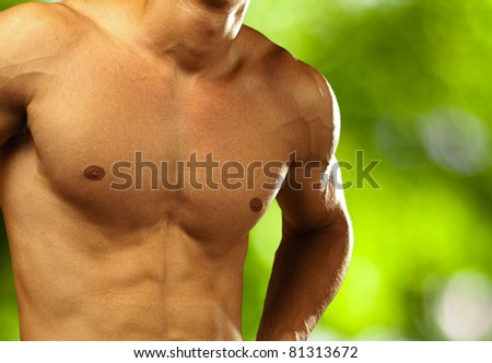 healthy young man on a nature background - stock photo