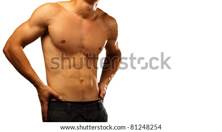 healthy young man on a white background - stock photo