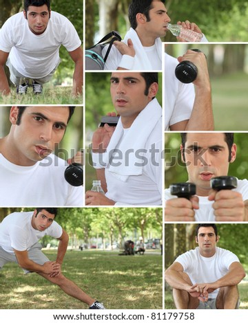 Healthy young man working out outdoors - stock photo