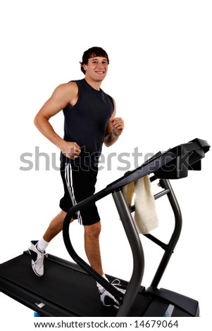 Healthy Young Man Workout on Treadmill on Isolated background