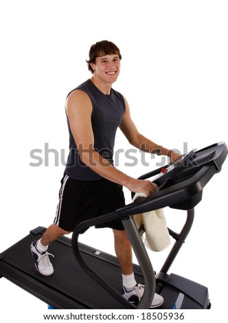 Healthy Young Man Workout on Treadmill on Isolated background - stock photo