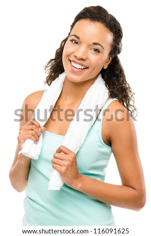 Healthy young mixed race woman exercising isolated on white background - stock photo