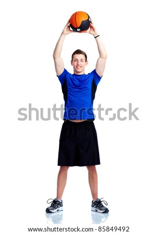 Healthy young strong man with ball. Isolated over white background. Sport. - stock photo