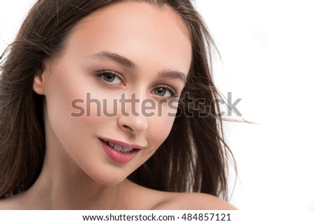 Healthy young woman expressing happiness