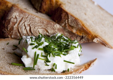 Healty bread with cottage cheese and green chives - stock photo