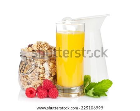 Healty breakfast with muesli, berries and orange juice. Isolated on white background - stock photo