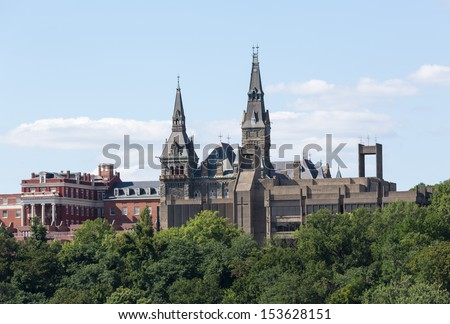 Healy Hall is the historic flagship building of Georgetown University in Washington DC. Built in 1879 by Paul Pelz and John Smithmeyer. - stock photo