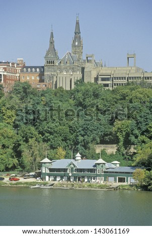 Healy Hall seen from the Potomac river in Georgetown, Washington, DC - stock photo
