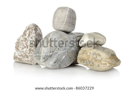 Heap a stones isolated on a white background - stock photo